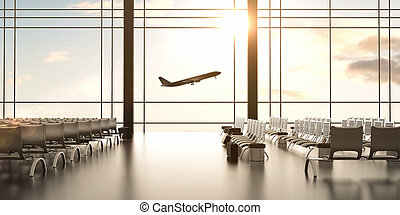 airplane - futuristic airport and big airplane in window