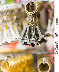 Eiffel tower key chains at the shop in Paris