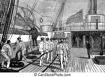 Life on board The bridge of a ship of war, vintage engraving...