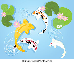 koi pond - an illustration of a group of colorful koi carp...