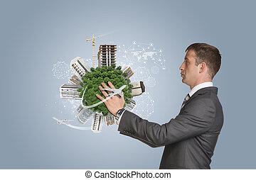 uomo affari, costruzioni, presa, Terra