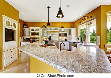 Farm house interior. Luxury kitchen room with big island and...