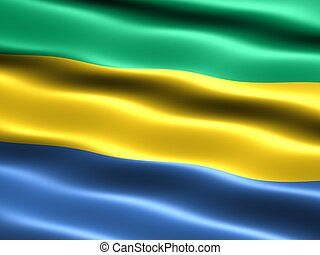Flag of Gabon, computer generated illustration with silky...