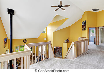 Luxury farm house interior with hight vaulted ceiling. View...
