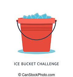 ALS Ice Bucket Challenge - Flat vector illustration of...
