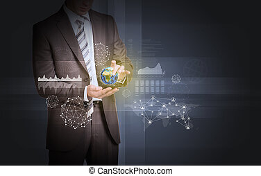 Businessman in suit hold Earth with graphs and network -...