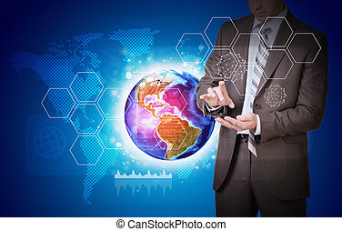Man hold empty copy space Earth with hexagons and world map...