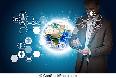 Man hold empty copy space. Earth and hexagons with icons -...