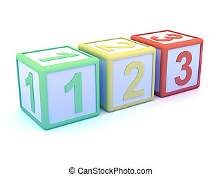 3d Numerical wooden blocks - 3d render of numerical wooden...