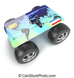 3d Credit card with wheels - 3d render of a credit card with...