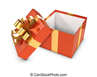 3d Open gift box with gold ribbon - 3d render of an open...
