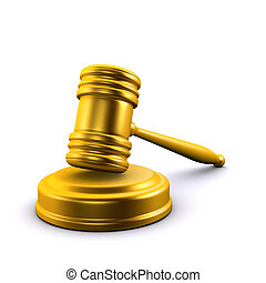 3d Gold auctioneers gavel - 3d render of a golden auction...