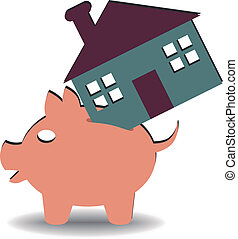 home savings - illustration of a piggy bank with a house...