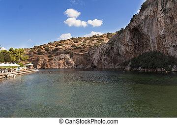 Vouliagmeni, termal, Radonic, mineral, agua, lago, Athen,...