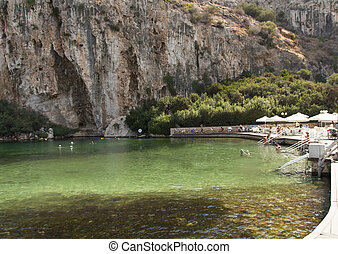 Vouliagmeni, Thermal Radonic Mineral Water Lake near Athen,...