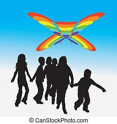 Kids and rainbow kite