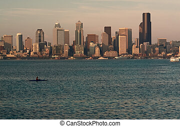 Seattle Skyline at Sunset with Kayaker