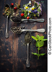 Black, green and herbal tea - Various kinds of tea with...
