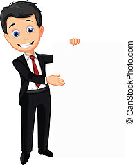 business man holding blank sign - vector illustration of...