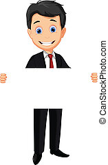 business man holding blank sign
