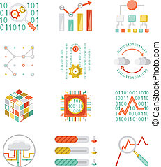 Data analytic silhouette icons - Data analytic colorful...