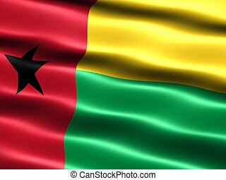 Flag of Guinea-Bissau, computer generated illustration with...