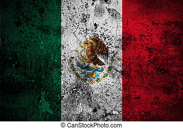grunge flag of Mexico with capital in Mexico City