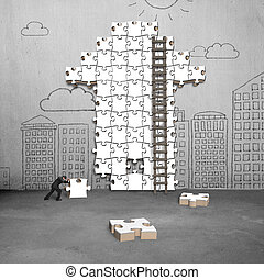 businessman pushing puzzle with arrow shape on doodles wall