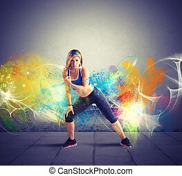 Modern dancer of a girl with motion effect