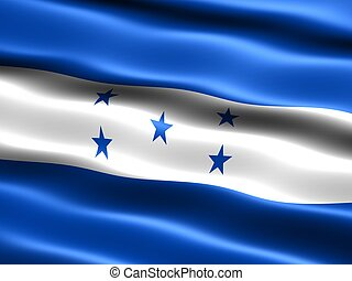 Flag of Honduras, computer generated illustration with silky...