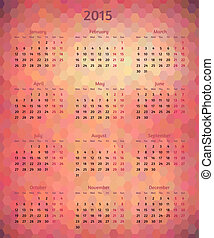 Abstract vector 2015 year polygonal calendar