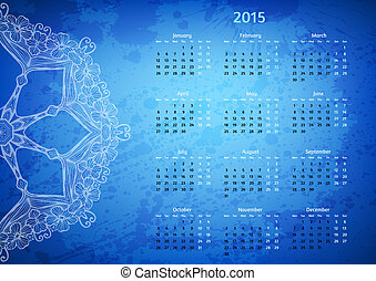 Abstract artistic arabesque 2015 year vector calendar