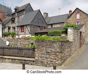 breton vilage - architectural view of a breton village in...