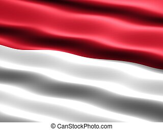 Flag of Indonesia, computer generated illustration with...