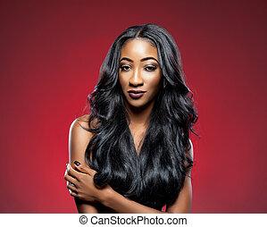 pretas, mulher, longo, luxuoso, brilhante, cabelo