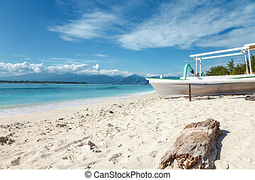 Tropical beach on Gili Trawangan, Indonesia - Tropical beach...