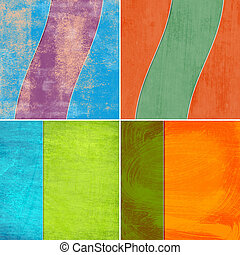 set of geometric grunge colorful backgrounds