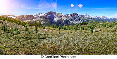 Panoramic view of mountains in Banff national park, Alberta, Can