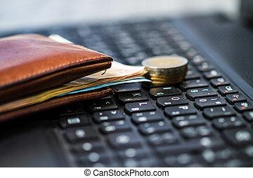 geldbörse, geld, Tastatur