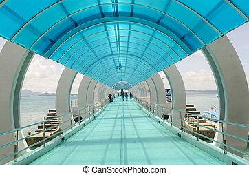 bâtiment, bureau,  métal, toit, verre, intérieur