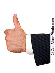 businessman\'s hand with thumbs up isolated on white