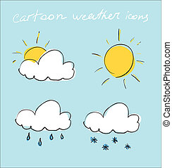 Cartoon weather icons set - Hand drawing sketch. Eps 10...