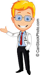 doctor cartoon presenting - vector illustration of doctor...