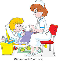 Doctor and little patient - Pediatrician examining a little...
