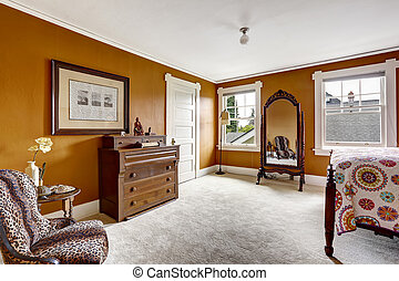 Brown bedroom with antique mirror and cabinet - Brown...
