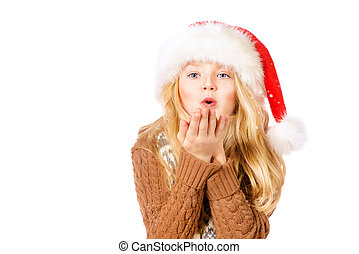 fly snowflakes - Pretty ten years girl in red Christmas cap...