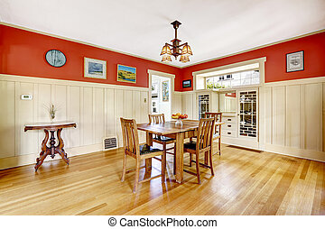 Red and white spacious dining room