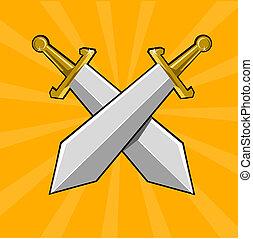 Two crossed swords - Cartoon weapon of Dark ages. Eps 10...