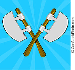 Two crossed poleaxes and shield - Cartoon weapon of Dark...