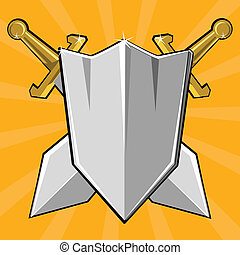 Two crossed swords and shield - Cartoon weapon of Dark ages...